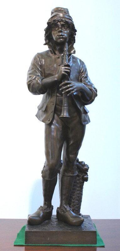 Duchoiselle Bronze Boy With Flute or Chalumeau