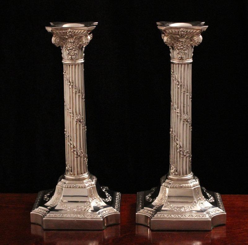 English Victorian Corinthian Column Candlesticks