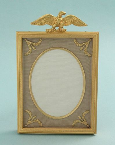 Antique Gilded Bronze Photo Frame with Eagle