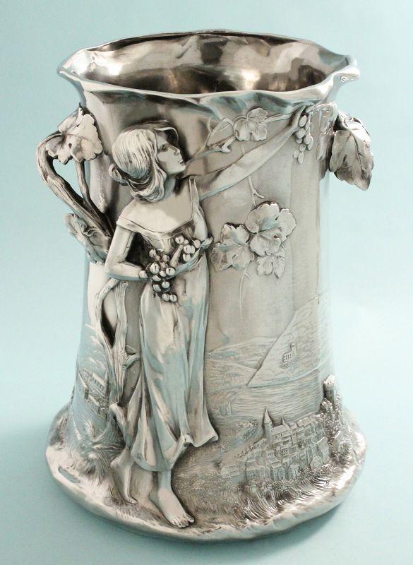 Figural Art Nouveau Champagne or Wine Cooler
