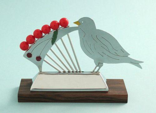 Art Deco Bird with Cherries Cocktail Picks Set