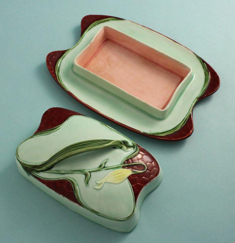 Austrian Art Nouveau Pottery Butter Box