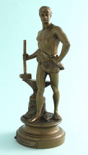 """""""Le Travail"""" Bronze, Maurice Constant"""