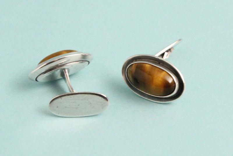 Mid-Century Silver and Tiger-Eye Cufflinks