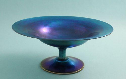 Steuben Large Blue Aurene Footed Bowl