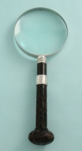 Carved Wood and Silver Magnifier