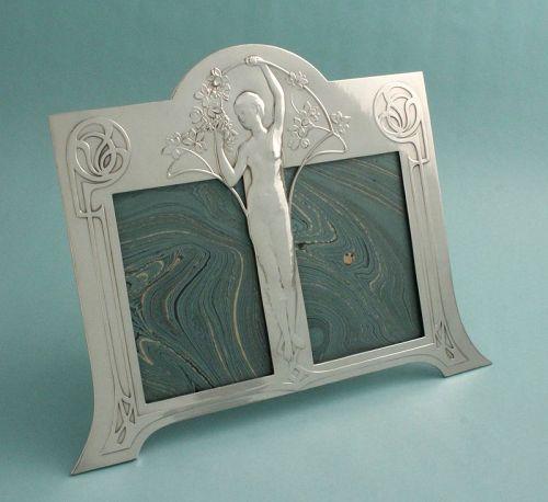 WMF Art Nouveau Maiden Double Photo Frame