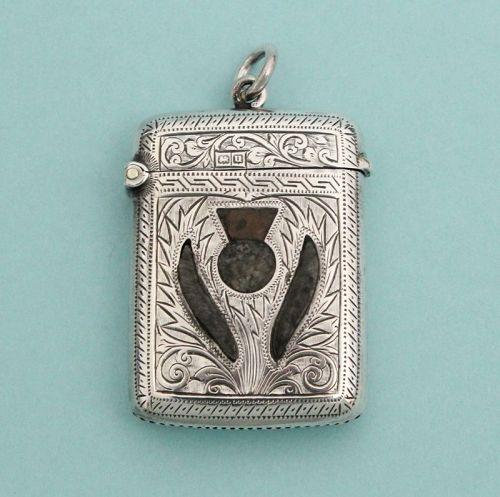Antique English Silver and Agate Vesta Case