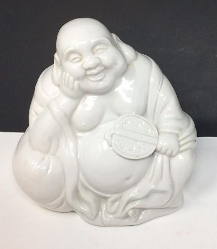 Blanc De Chine White Porcelain Happy Laughing Buddha Chinese Statue