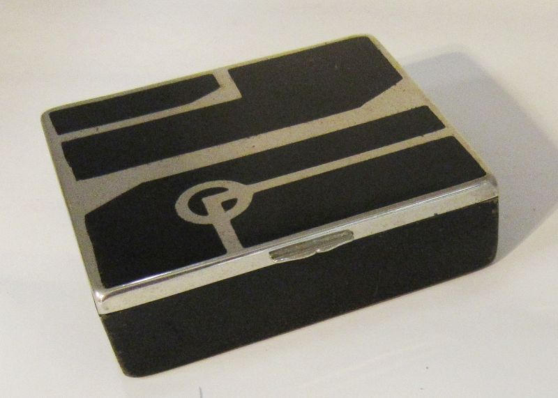 Art Deco Black and Silver Cigarette Box Wood and Metal