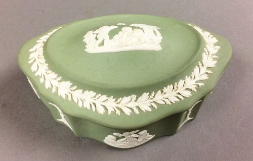 Wedgwood Sage Green Jasperware Trinket Box