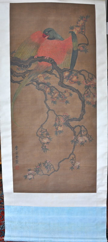Large Chinese Scroll Painting of Parrot