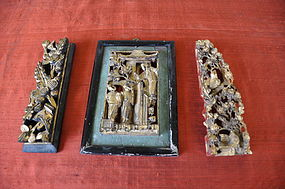 Three Chinese Architectural Gilt Wood Carvings