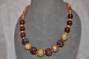 Carnelian and Gilt Metal Beads Necklace SOLD