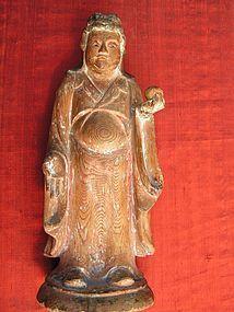 RARE JAPANESE SHINTO WOOD SCULPTURE OF  BUDDHA