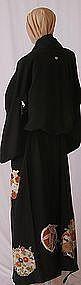 Japanese Black Silk Kimono