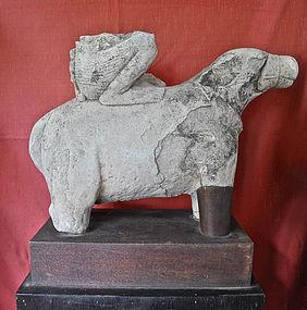Khmer Stone Carving of Nandin Bull