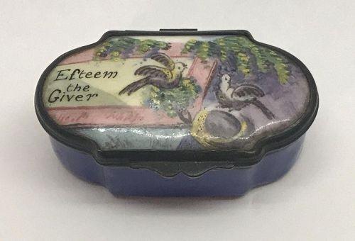 Signed Georgian English Bilston Enamelware Box c1780, Esteem the Giver