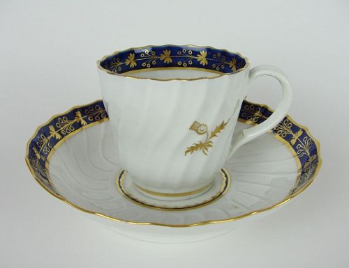 Flight Period Worcester Thistle Pattern Fluted Cup and Saucer Ca. 1792