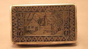 Antique Silver and Niello Snuff,Cigarette snuff Case