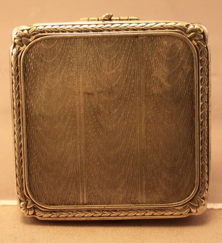Art Deco Nickel Silver compact Case.