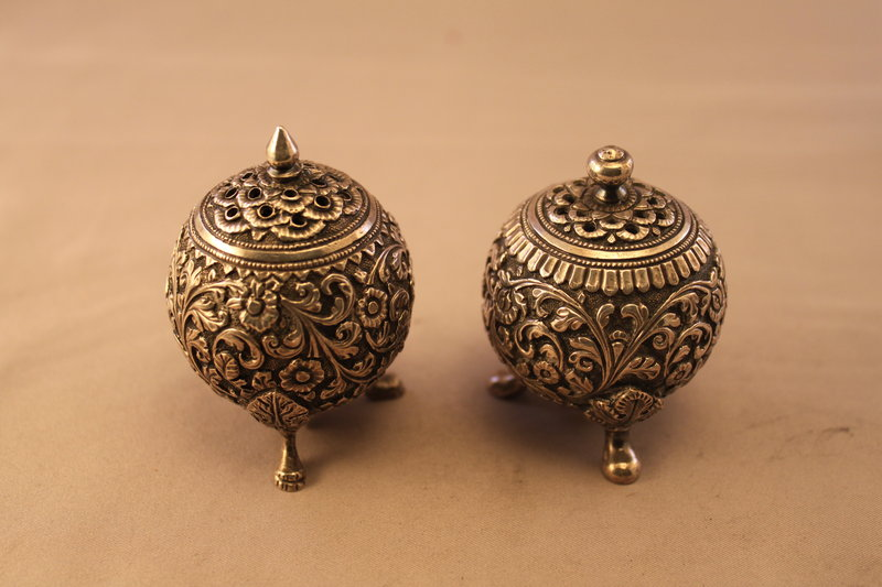 Antique European Repousse Silver Salt & Pepper Shakers,