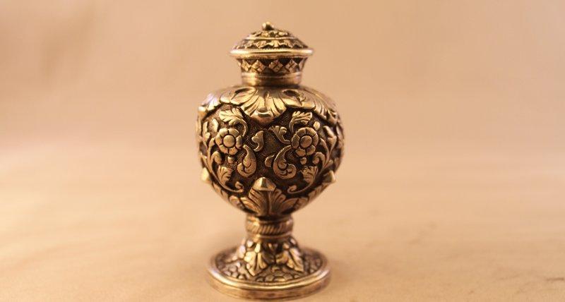 Antique European Repousse Silver Salt Shaker, 19th C.