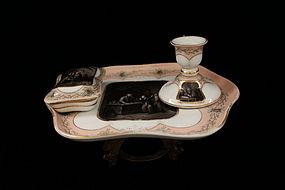 Antique Continental Porcelain Smoking Set 19th C.