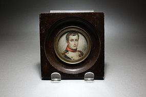 Antique Miniature Portrait Painting of Young Napoleon.