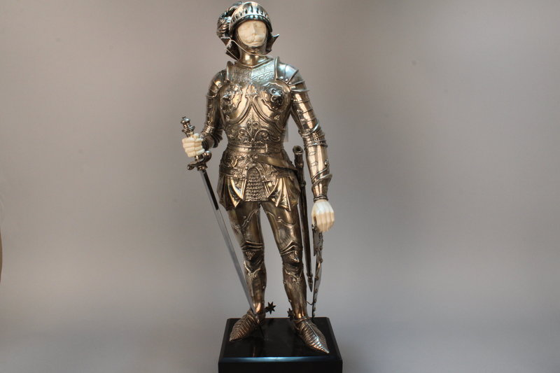 Elegant German Silver and Ivory Figure of a Knight