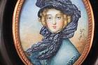 Vintage French Miniature Portrait Painting.