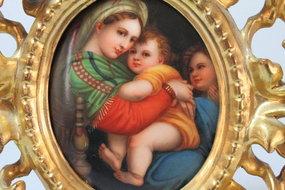 Antique Porcelain Miniature Plaque of Madonna and Child