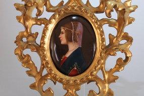 Renaissance Revival Porcelain Miniature Plaque of Beatr