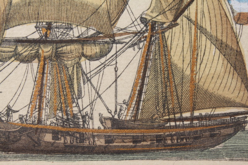 MARVELOUS GILT ETCHING AND AQUATINT, EARLY 19TH C.