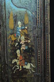 Fine Persian Marquetry Khatamkari-work Mirror, 19th C.