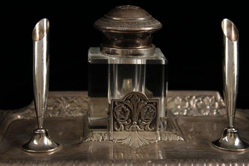 Striking Antique German silver Inkstand, 19th c.