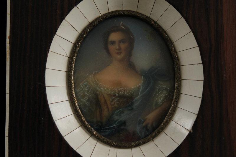 Antique French Miniature Portrait Painting, 19th C.
