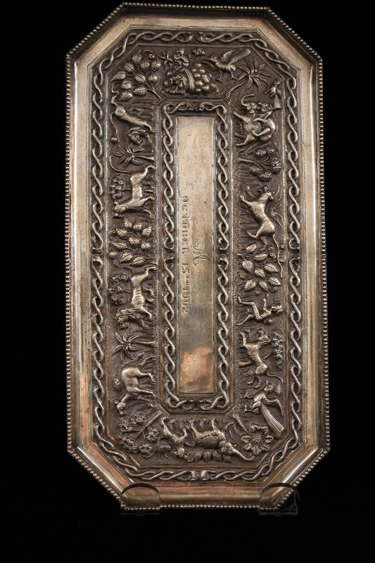 Antique Indian Hand Crafted Repousse Silver Tablet.