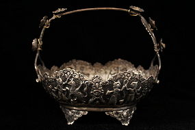 Antique Persian Hand Crafted silver Dish, 19th c.