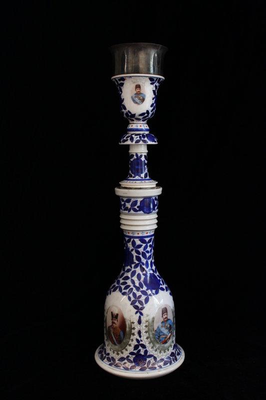Antique Persian porcelain Hookah, 19th C.