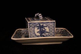 Antique Japanese Seto Ware Tray and Box.