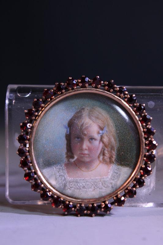 10K Gold Brooch w/ Miniature Portrait Painting.