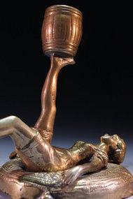 Wonderful Bronze Candle Holder, Earl 20th c.