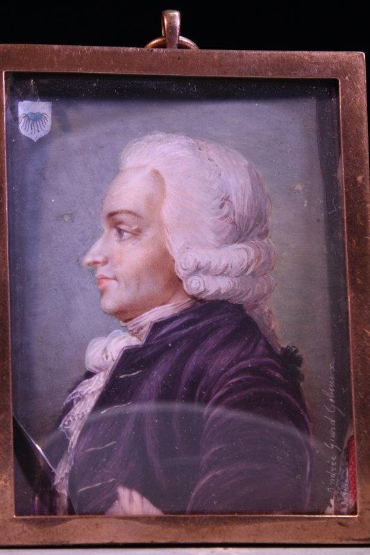 18th c. Miniature Portrait of a Man in Profile