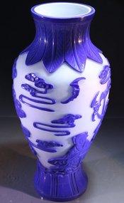 Fine Chinese Blue and White Peking Glass Vase,