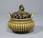Chinese Tripod Bronze Censer with Cover,