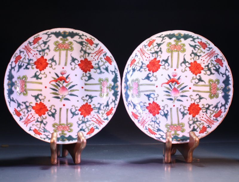 Pair of Fine Chinese Enameled Porcelain Dishes,
