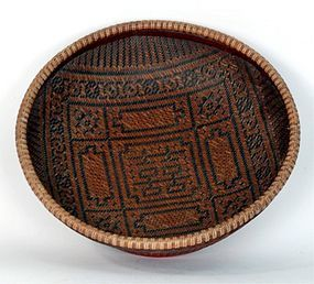 Antique Chinese Bamboo Sewing Basket,