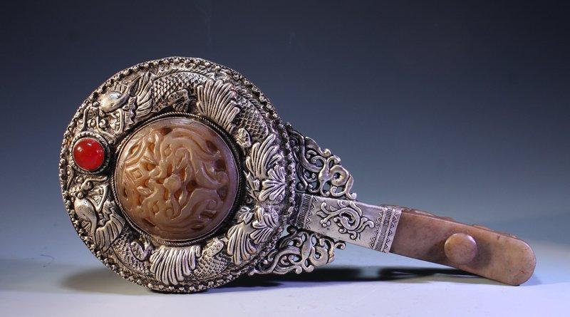 Chinese Silver Mirror w/ Inlaid Jade,