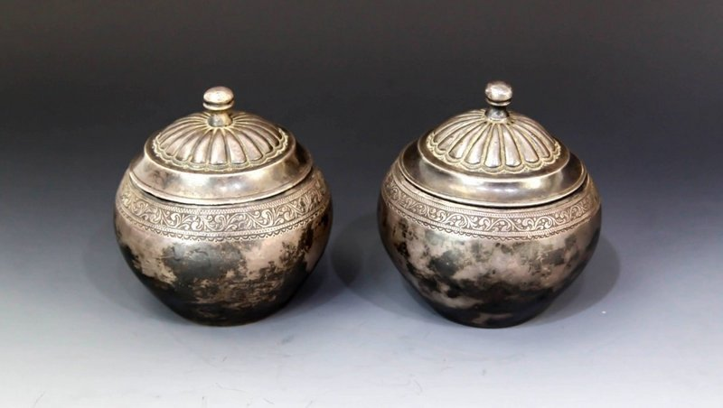 Chinese 1910's Pair of Silver Cover Boxes,